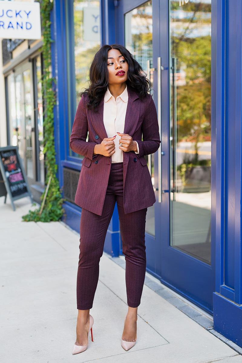 pinstripe burgundy suit, www.jadore-fashion.com