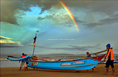 Rainbow in the morning in Pangandaran West coast.
