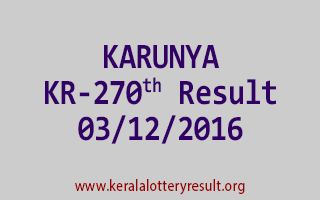 KARUNYA KR 270 Lottery Results 3-12-2016