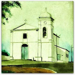 Pintura da Igreja Matriz na Casa de Cultura de Tapes