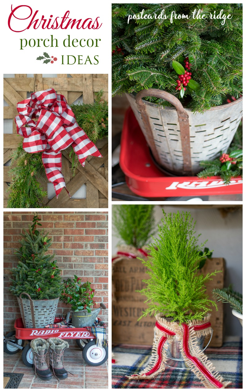 Lots of great ideas for a natural, rustic Christmas front porch