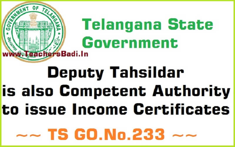 Deputy Tahsildar is also Competent Authority to issue Income