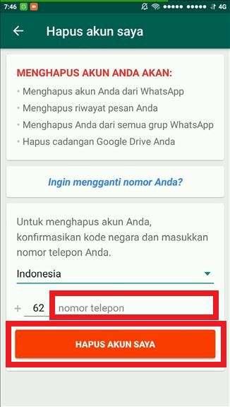 Cara Menghapus Permanen Akun Whatsapp 5