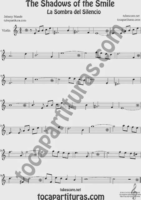 The Shadows of Your Smile  Partitura de Violín Sheet Music for Violin Music Scores Music Scores La Sombra de tu Sonrisa