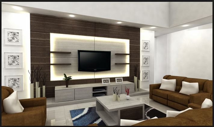 Gypsum Board Tv Wall Design With Led Lights For Modern Living