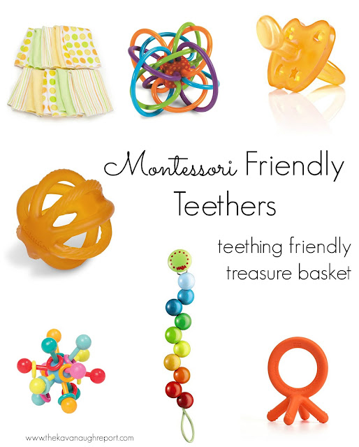 A teething friendly treasure basket for our Montessori baby -- here is how we deal with teething