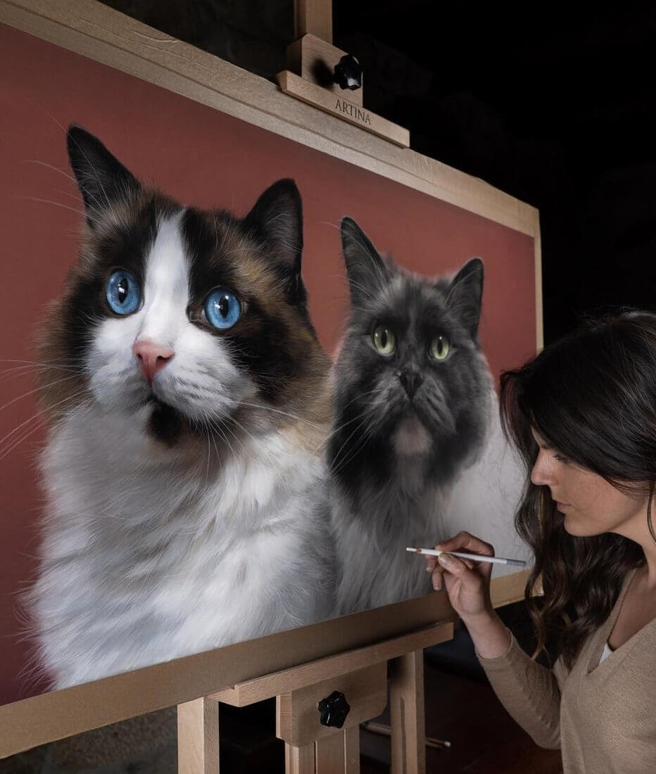 03-Ruby-and-Gracie-Patricia-Otero-Cats-and-Dogs-Portrait-Artist-www-designstack-co