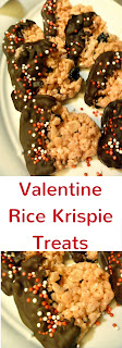 Valentine heart rice krispie treats studded with cherries and strawberry flavor dipped in chocolate take this over the top for a Valentine snack! - slice of southern