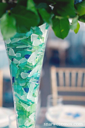 Seaglass in Tall Vase for Table Centerpiece