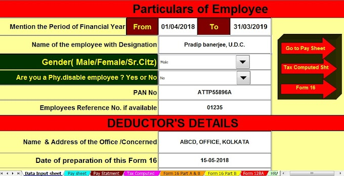 Download Automated All in One TDS on Salary for Non-Govt ( Private) Employees for F.Y.2018-19