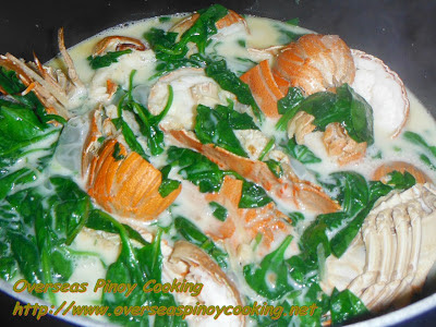 Ginataang Pitik with Spinach - Cooking Procedure