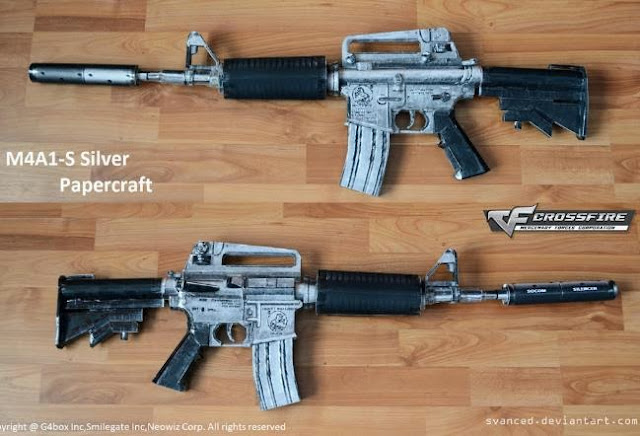 Papermau Crossfire M4a1 S Silver Carbine Paper Model