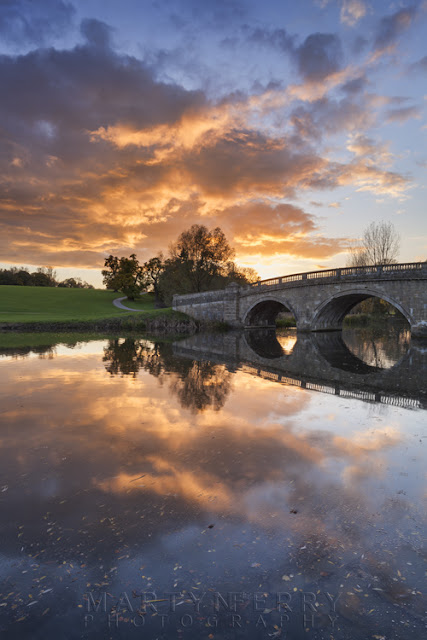 Sunset colours over a bridge at Blenheim Park by Martyn Ferry Photography