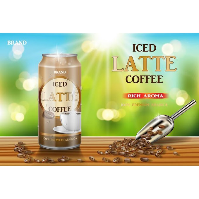 Latte coffee aluminum can with milk and beans ads. 3d illustration of hot arabica coffee package design on wooden table and bokeh background. Vector