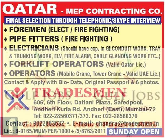 Contracting Company Jobs For Qatar