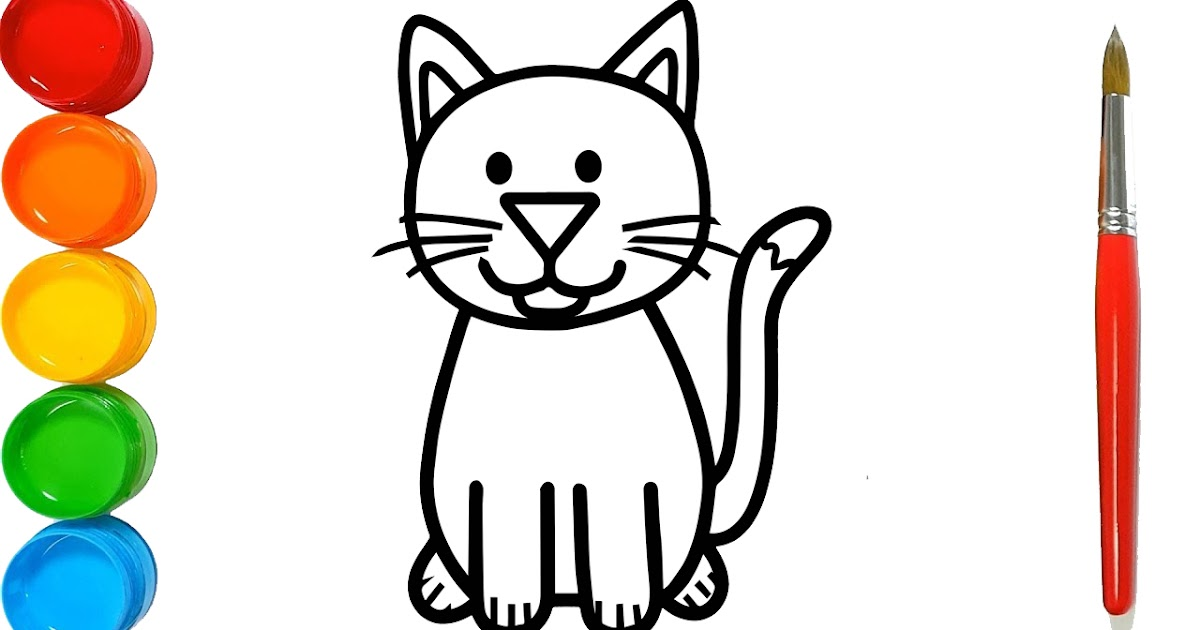 How to Draw a Cat for Kids – Cat Drawing for Kids – Cat Coloring ...