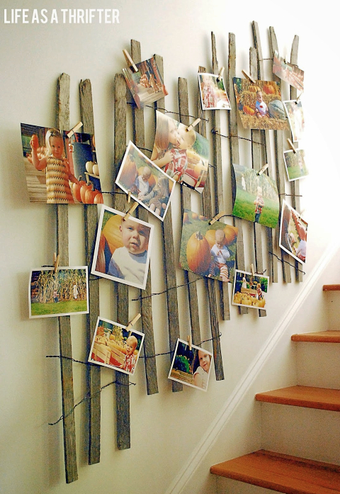 Recycled Fence Wall Decor Idea for Photo Display