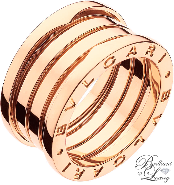 Brilliant Luxury ♦ Bvlgari B.Zero1 4-band 18 kt pink gold ring