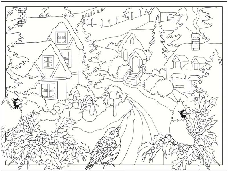 5 Free Winter Scenes Coloring Pages