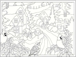 coloring pages winter scene-#7
