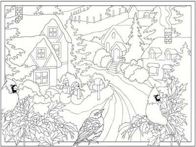 free printable winter scenes coloring pages