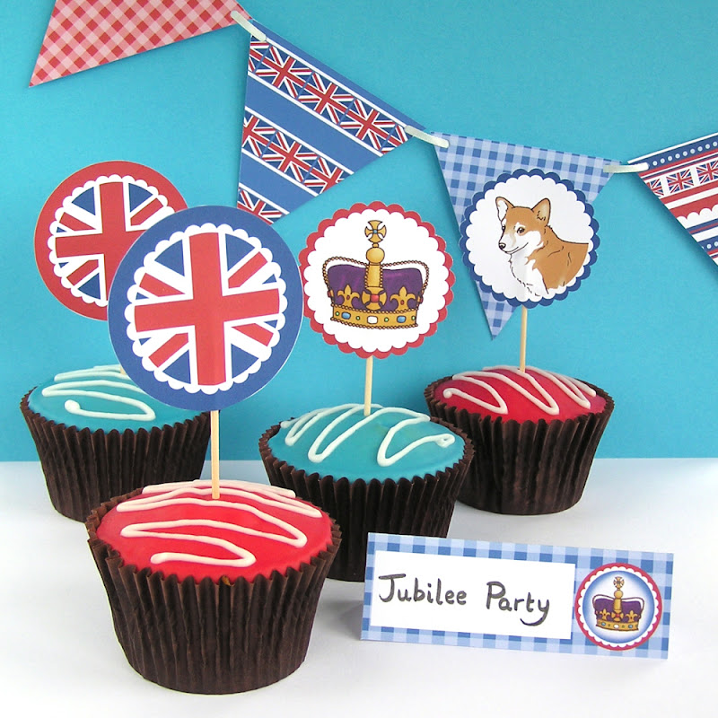 Jubilee Party printable cupcake toppers, bunting and name place cards hazelfishercreations
