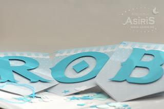 Banner de botez cu literele bebelusului
