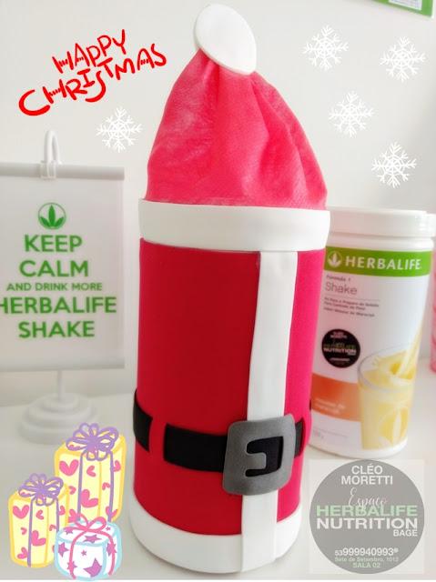 Pote de Shake Herbalife, Herbalife, Pote de Shake, Shake, Reciclagem, Reaproveitar, Natal, Papai Noel, Papai noel no pote de shake