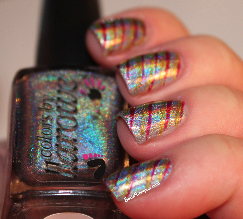 Festive Holographic Striped Nail Art