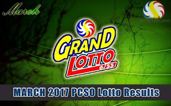 Results: March 2017 GrandLotto 6/55 PCSO Lotto