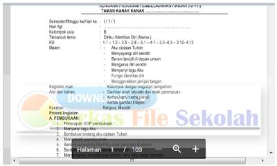 Contoh RKH dan RPPH Paud Semester 1 dan 2 Kurikulum 2013  : Berkas File Sekolah 2018