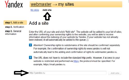 Menambah website ke webmaster Yandex