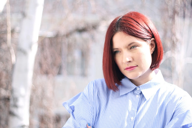 Red hair, hair tips, outfit, zara, womens fashion