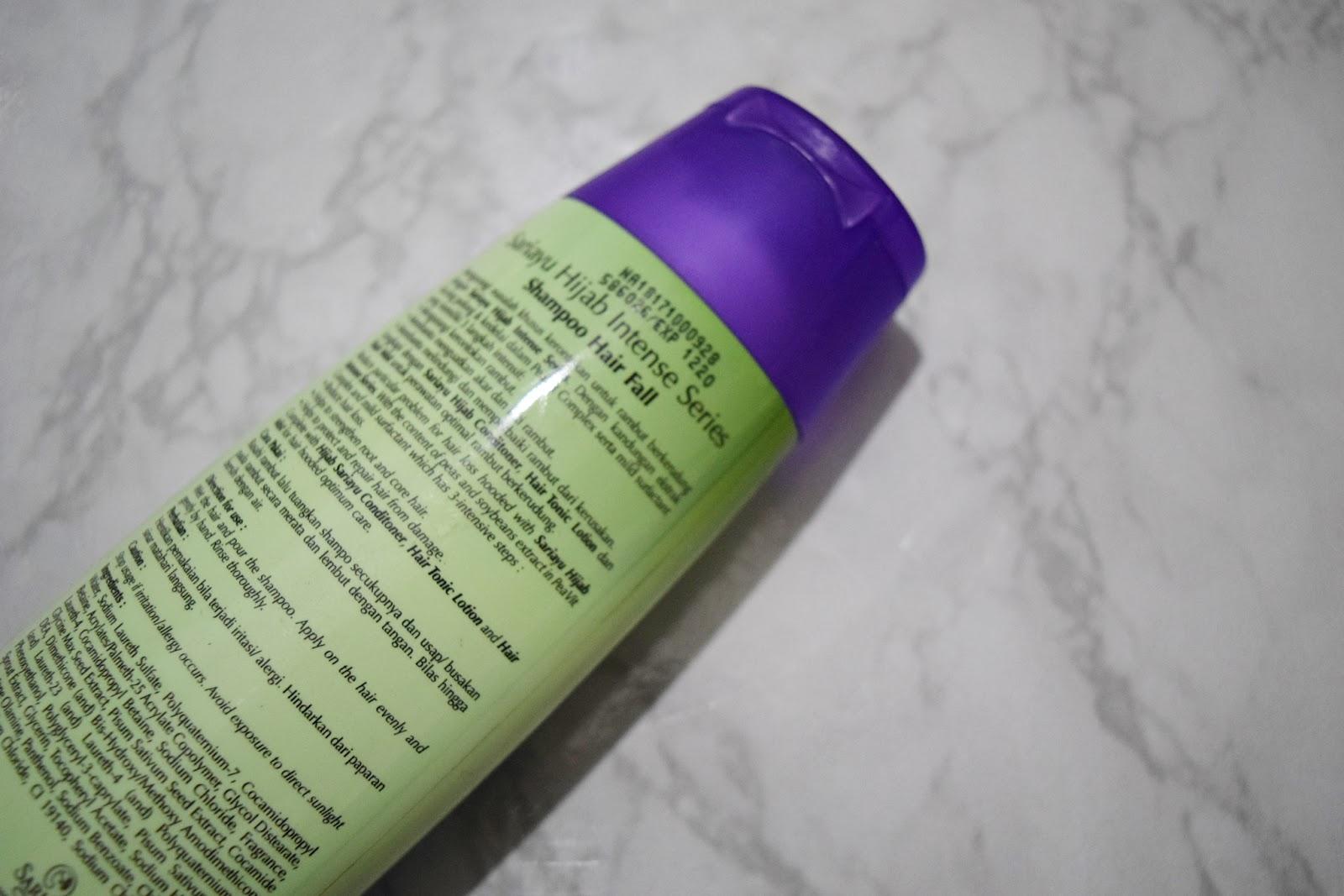 Jehanina Review Sariayu Hijab Intense Series Shampoo Hairfall Sari Ayu Hair Fall 180ml Ini Dia Tampilan Dari Perpaduan Warna Hijau Dan Ungu Yang Ciamik Di Bagian Depan Ada Merk Produk