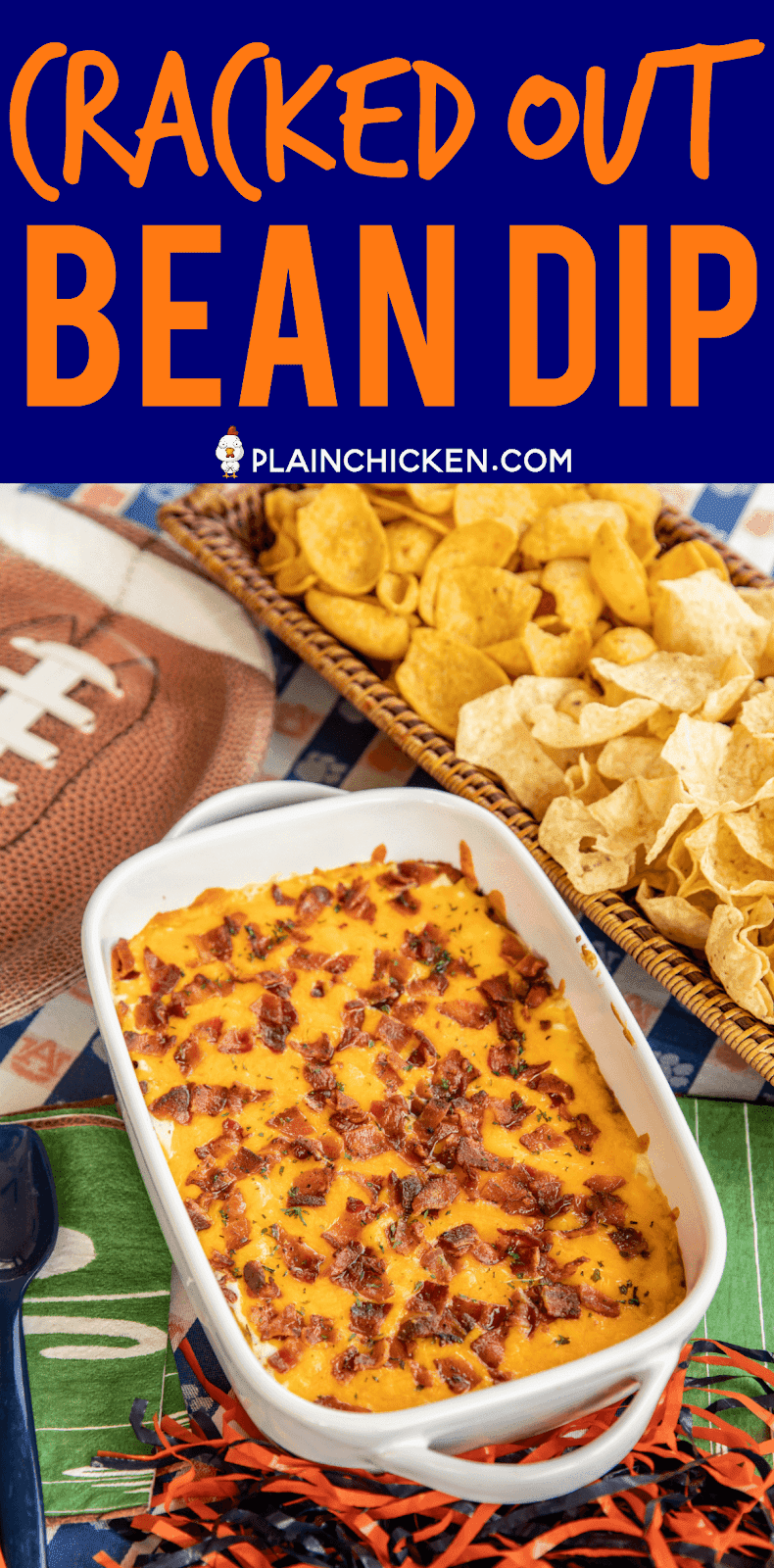 Cracked Out Bean Dip - SO addictive! Bean dip loaded with cheddar bacon and ranch. I could NOT stop eating this yummy dip. The flavors are amazing! Refried beans, taco seasoning, sour cream, ranch, bacon and cheddar cheese. Can make ahead of time and refrigerate until ready to bake. Serve with fritos and tortilla chips. This dip is always the first thing to go at our tailgates! I never have any leftovers! YUM! #dip #beandip #tailgating #appetizer #partyfood