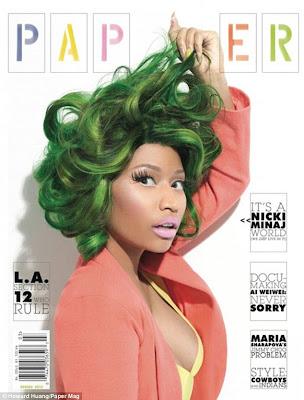 colour chameleon nicki minaj wears green and pink hair in