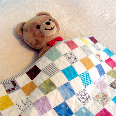 postage stamp doll quilt - detail 1