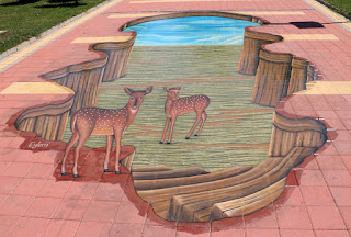 A pavement artwork in the park