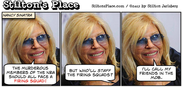 stilton's place, stilton, political, humor, conservative, cartoons, jokes, hope n' change, las vegas, shooting, nancy sinatra, firing squad