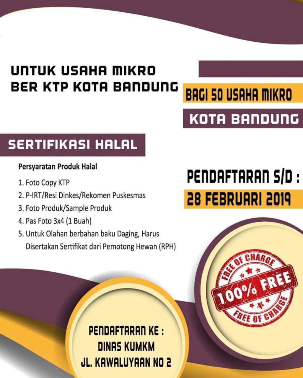 Sertifikasi Halal untuk Usaha Mikro Ber-KTP Kota Bandung
