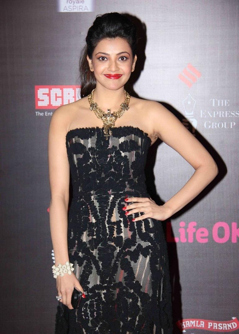 Kajal Agarwal In Sizzling Sleeveless Black Gown