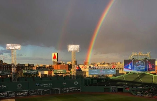 Rainbow over Fenway Park.