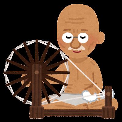 糸車を回すガンジーのイラスト
