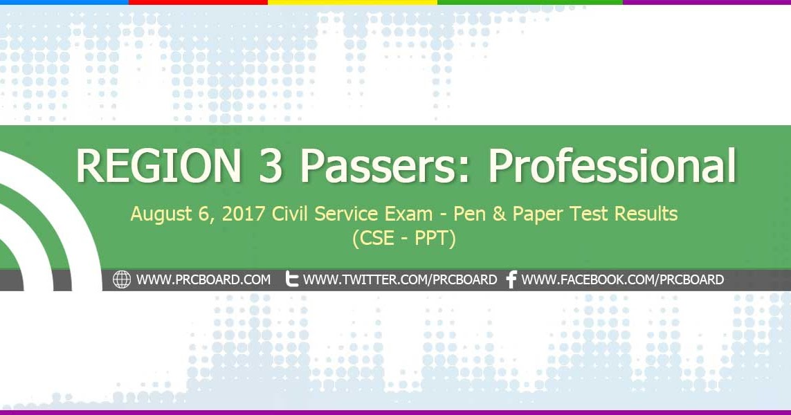 REGION 3 Passers Professional August 2017 Civil Service Exam Results CSE PPT