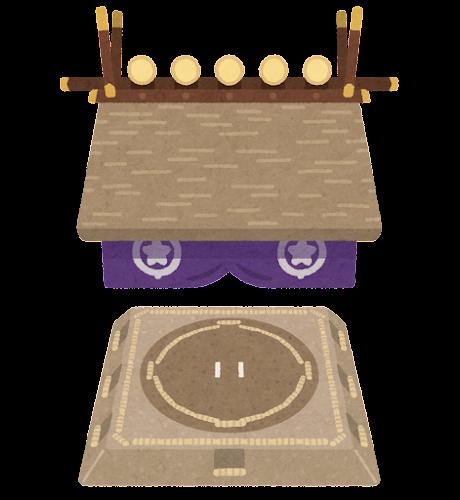 相撲の土俵のイラスト(吊り屋根)