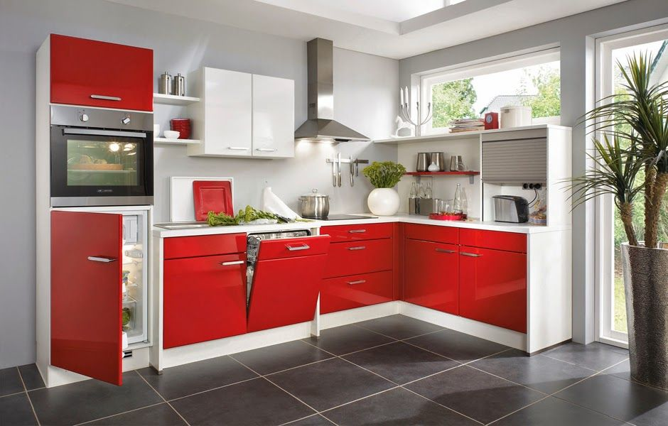 Cocinas en color rojo gris y blanco colores en casa for Granito marron cristal