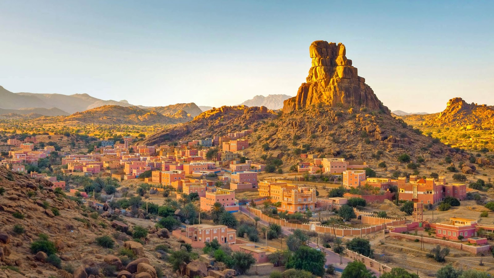 The village of Aguerd Oudad and the larger town of Tafraout in Morocco