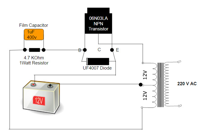 simple low power inverter circuit  12v dc to 230v or 110v