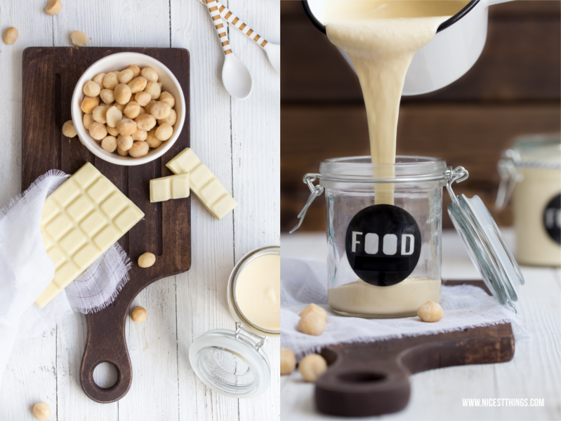 Zutaten für selbstgemachtes Nutella mit weißer Schokolade