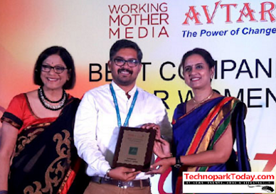 IBS HR Group Manager Dileep receiving the award from Subha Barry, VP & GM, Working Mother Media and Dr. Saundarya Rajesh, Founder-President, AVTAR